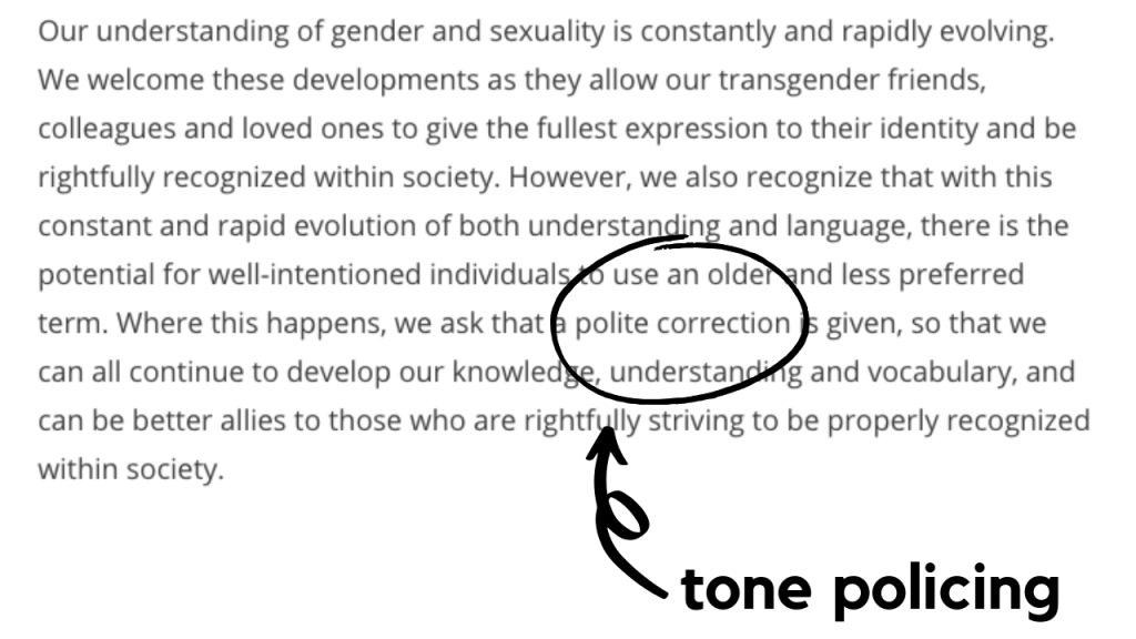 """An exert of the text from the updated Smut Marathon feedback rules, with the words """"polite correction"""" circled."""